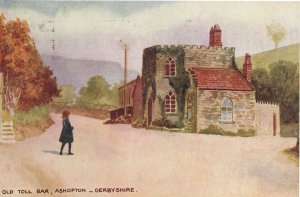 Old Toll Bar Ashopton Derbyshire Art Oilette Postcard