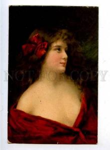 182603 Lady LONG HAIR Red Bow by Angelo ASTI vintage color PC