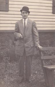 Man Wearing Suit Smoking Cigar Real Photo