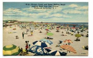 Bathing Beach Scene Wildwood By The Sea New Jersey 1950 postcard