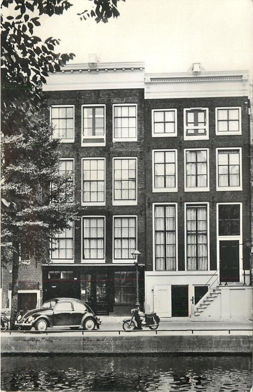 Amsterdam Holland Netherlands~Anne Frank House~VW Car~Motorcycle~1960s~RPPC