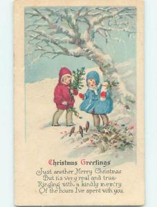 Bent Divided-Back christmas CUTE GIRLS LOOKING AT LITTLE BIRDS o4151