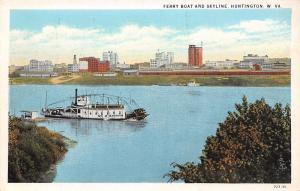 Huntington West Virginia~Ferry Boat & Docking Ramp~City Skyline~1930 Postcard