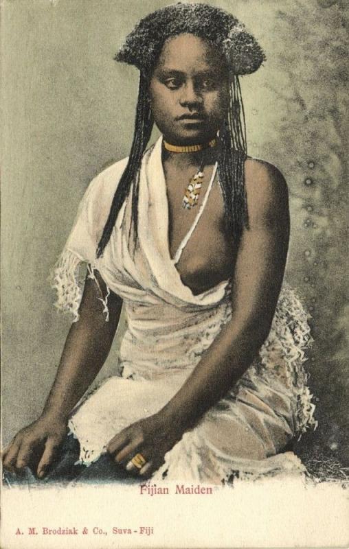 fiji islands, Beautiful Native Fijian Maiden (1899) Brodziak & Co.