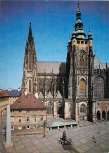 Praha goticka 12x17cm card Czech R. Cathedral of Saint Vitus Prague Castle