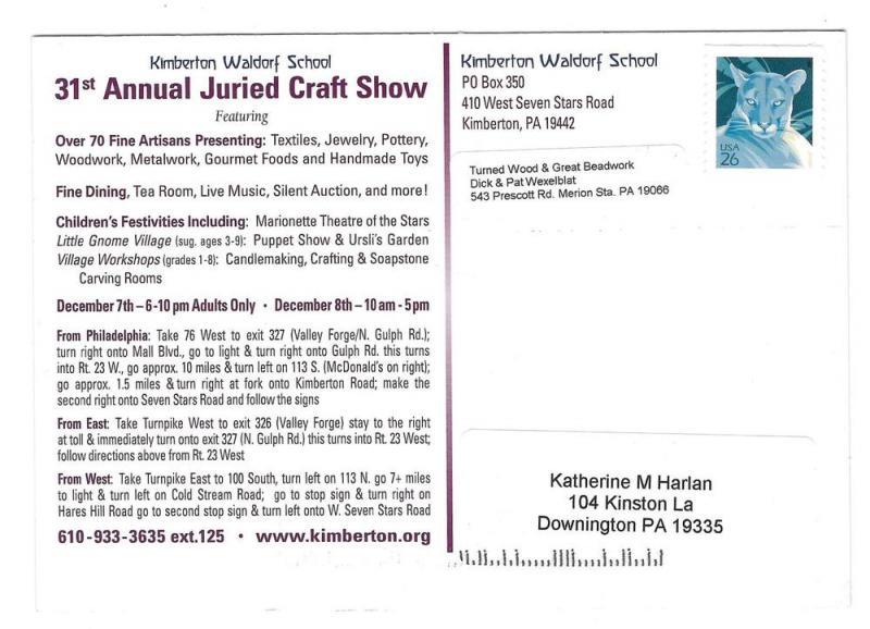 Modern Advert Postcard Kimberton Waldorf School Craft Show