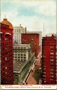 Vtg Postcard 1910s Chicago Illinois IL Dearborn Street From Jackson Blvd UNP