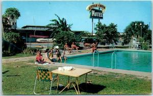 Harlingen, Texas Postcard LITTLE CREEK MOTEL Pool Scene Roadside c1960s Unused