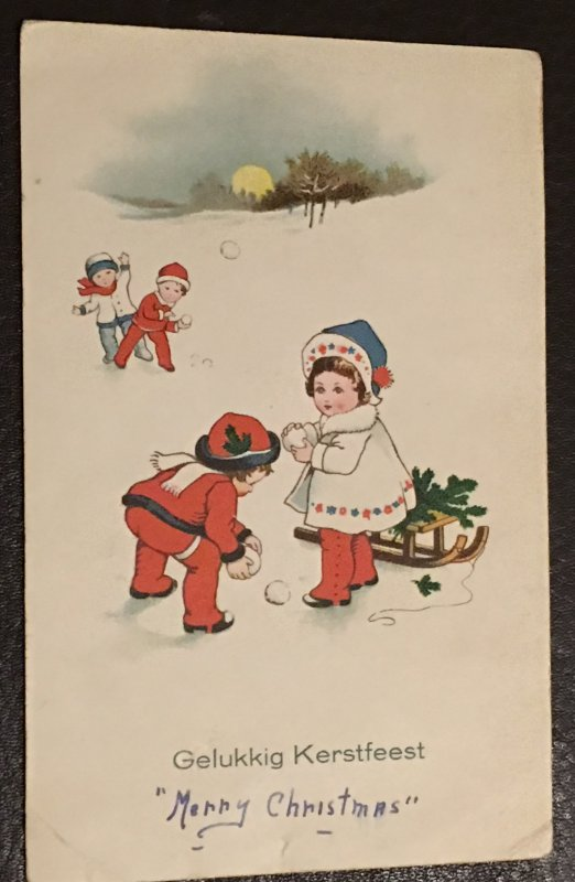 Vintage 1900is Dutch Christmas Postcard greeting card.