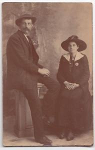 Edwardian Couple In Studio Portrait RP PPC, Note Her Scotch Style Brooch