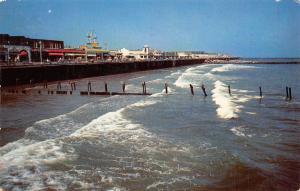 Ocean City New Jersey~Boardwalk Surf Scene~Ferris Wheel~1960 Postcard