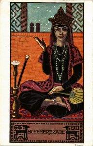 PC CPA ARABIAN TYPES AND SCENES, SCHEHEREZADE, Vintage Postcard (b17436)