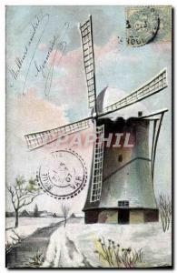 Postcard Old Windmill in winter