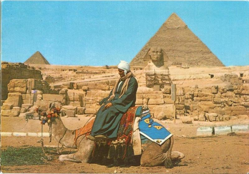 Egypt, Giza, The Great Sphinx and the Pyramids, Postcard