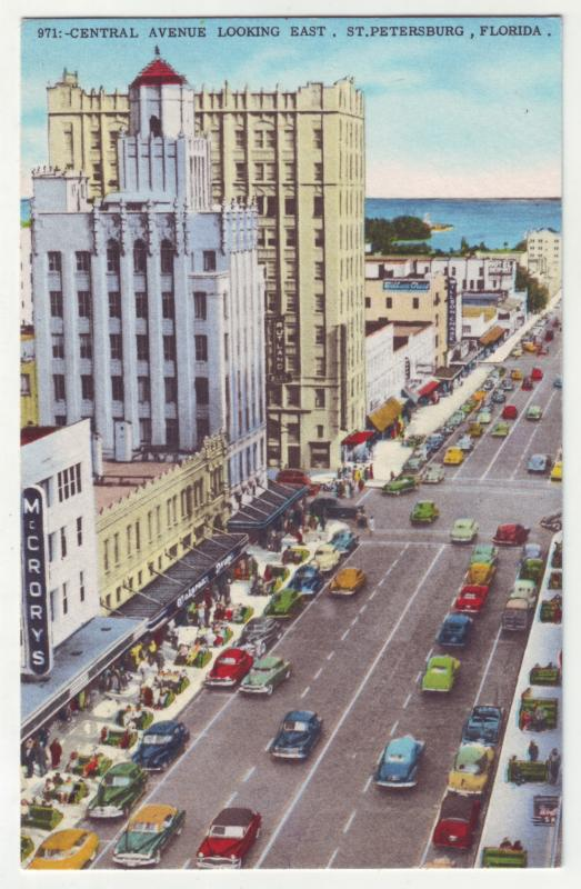 P759 neat birds eye view many old cars central ave st petersburg florida