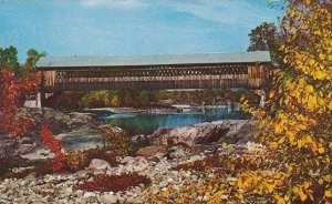 New Hampshire Woodstock Covered Bridge Across The Pemingewasset River At Wood...