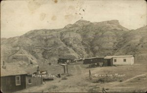 Glendive MT Hungry Joe Camp 1916 Hodges Cancel Real Photo Postcard xst