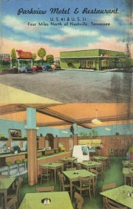 Postcard Parkeview Motel Restaurant Nashville Tennessee