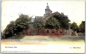 East Palestine, Ohio Postcard HIGH SCHOOL Building View w/ 1908 Cancel