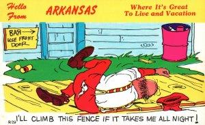 Hello from Arkansas, AR, Comic, Drunk Man on Ground, Vintage Postcard h4733