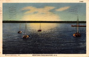 South Carolina Beaufort Greetings With Anchored Sailboats 1941 Curteich