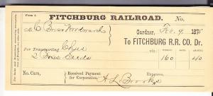 Fitchburg Railroad Freight Receipt 1875