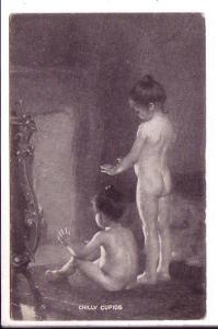 Nude Young Girls in Front of Fireplace, 'Chilly Cupids',  Used 1909