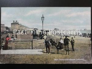 c1911 - Lowestoft, principal ESPLANADE & PLAGE - montrant âne manèges