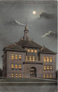 Kerkhoven Minnesota~McKinley High School @ Night~Lights on Inside~c1910 Postcard