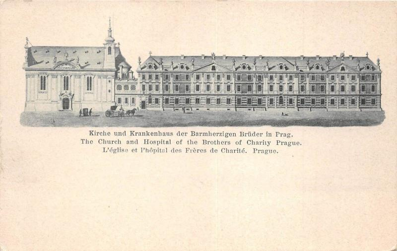 B64899 The Church and Hospital of the Brothers of Charity Prague Praha   czech