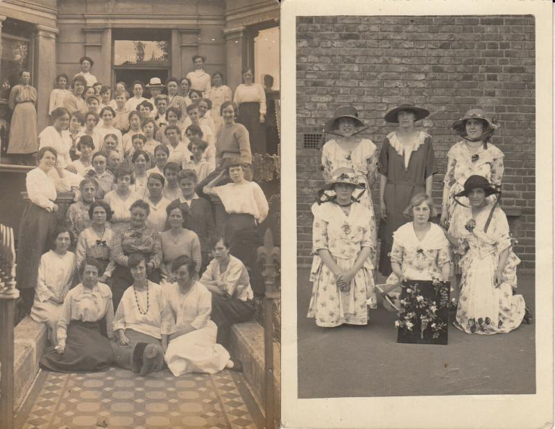 Group of women early real photo postcards x 2