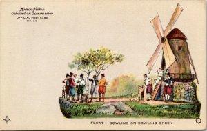 Hudson Fulton Celebration 1909 FLOAT-BOWLING ON BOWLING GREEN vtg postcard