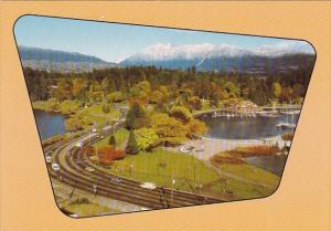 Canada Aerial View Of Stanley Park And Coastal Mountain Range Vancouver Briti...