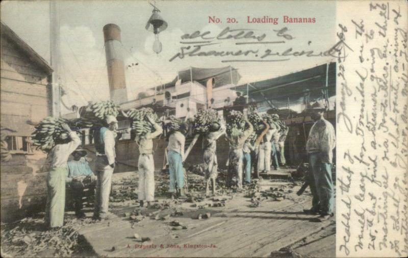 Black Men Load Bananas Steamer Ship - Publ Kingston Jamaica Used 1906 PC
