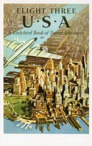 Flight Three USA America Plane Travel Ladybird Book Postcard
