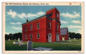 Mid-1900s The Old Presbyterian Church and Cemetery, Dover, DE Postcard