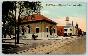 Streator Illinois~Buggy @ Post Office~Social Club~Water Tower Over Downtown~1912