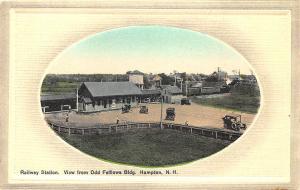Hampton NH Odd Fellows Bldg. Embossed Railroad Station Train Depot Postcard