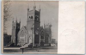 Tipton, Iowa RPPC Real Photo Postcard M.E. Church Building / Street View 1907