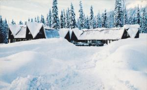 Snow Covered Azu Ski Village, Pine Pass, British Columbia, Canada, 40-60s