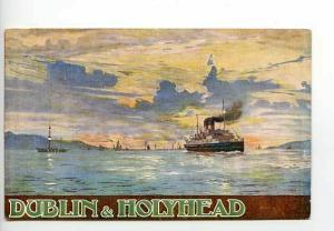 Dublin Hollyhead Royal Mail Steam Ship Poster Postcard