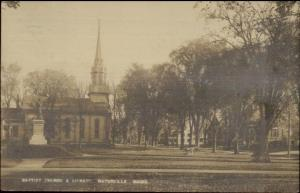 Waterville ME Church & Library c1910 Real Photo Postcard