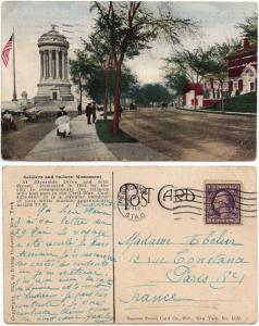 USA to France - 1903 Civil War Monument View Card
