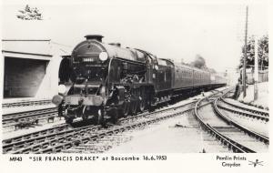 Sir Francis Drake Train at Boscombe Station in 1953 Postcard