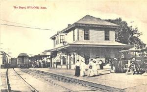 Hyannis MA Cape Cod Railroad Station Train Depot Bus Postcard