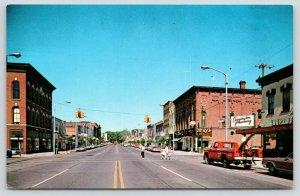 Marshall Michigan~Michigan Avenue~Wolf's~Pharmacy~Red Tow Truck~1960s Postcard