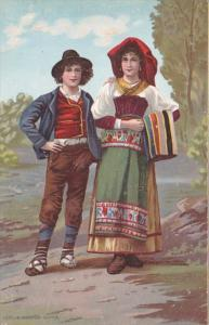 Italy Roma Rome Young Couple In Traditional Costume Richter