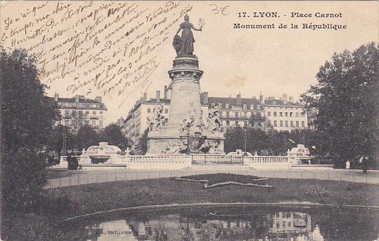 France Lyon Place Carnot Monument de la Republique 1905