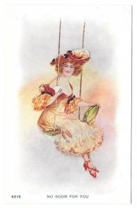 Beautiful Woman holding Tambourine on Swing No Room For You
