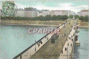 Old Postcard Lyon Morand bridge and dock eastern Tramway